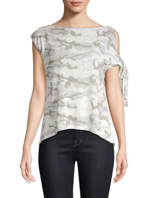 RED HAUTE One-Shoulder Camo Tee in Natural