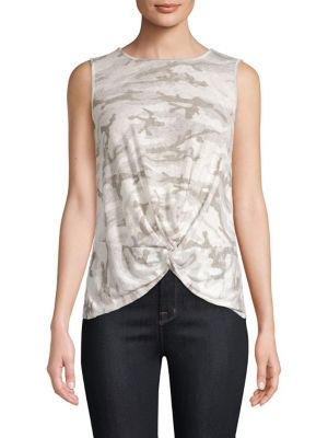 RED HAUTE Camo Knot-Front Tank Top in Natural