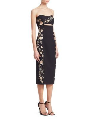 Clemence Strapless Cutout-Waist Crepe Sheath Dress, Black Multi