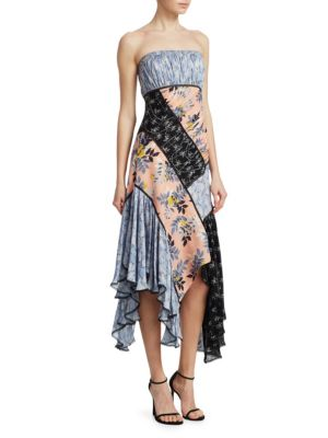 Sabrina Strapless Floral Patchwork Dress, Multi