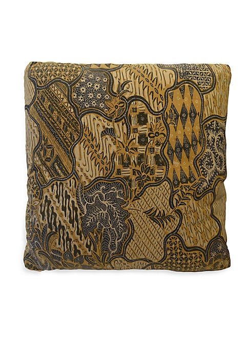 """Image of Antique Balinese ceremonial sarongs are made into beautiful, cotton pillows. Antique sarong on both sides with concealed zipper. Inserts included.18""""W x 18""""L.Cotton. Spot clean. Imported."""