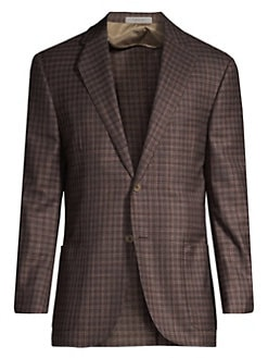 a9c69413039dc Corneliani. Plaid Virgin Wool Single-Breasted Blazer