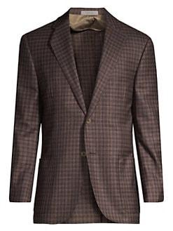 a9c69413039dc Corneliani. Plaid Virgin Wool Single-Breasted Blazer