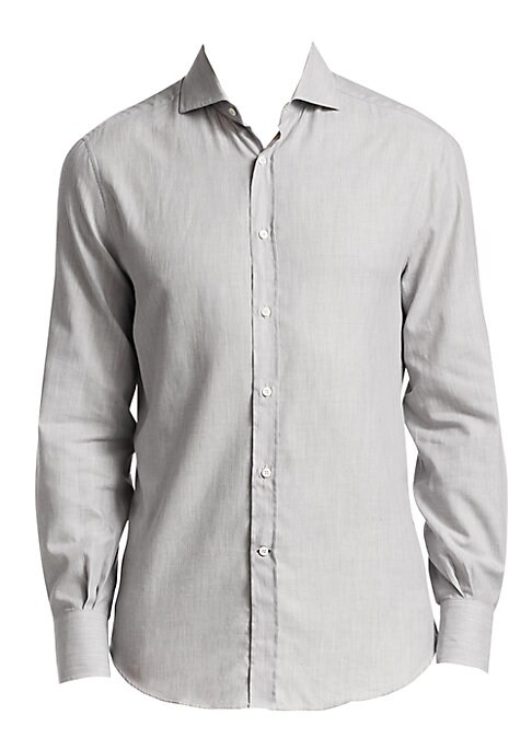 Image of Lightweight fitted shirt in rich Italian cotton. Spread collar. Button front closure. Long sleeves with button barrel cuffs. Shirt tail hem. Cotton. Dry clean. Made in Italy.