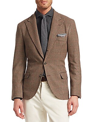 Image of From the Saks IT LIST THE JACKET The wear everywhere layer that instantly dresses you up. Tailored blazer jacket crafted from cashmere and wool is finished in allover houndstooth print Notched lapels Long sleeves Button front close Chest welt pocket Waist