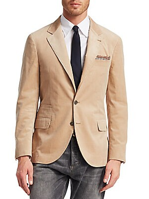 Image of From the Saks IT LIST THE JACKET The wear everywhere layer that instantly dresses you up. Tailored blazer jacket in sophisticated corduroy finish Notched lapels Long sleeves Button front close Chest welt pocket Waist welt pocket Two waist flap pockets Lin