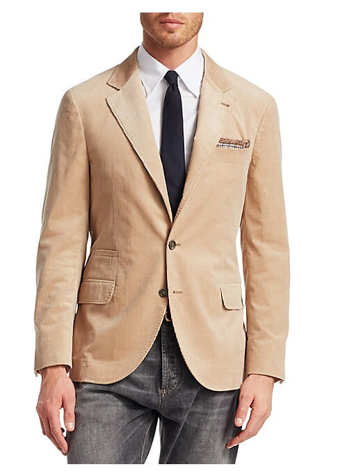 Image of From the Saks IT LIST. THE JACKET. The wear everywhere layer that instantly dresses you up. Tailored blazer jacket in sophisticated corduroy finish. Notched lapels. Long sleeves. Button front close. Chest welt pocket. Waist welt pocket. Two waist flap poc