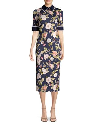 Delora Floral Collared Midi Dress