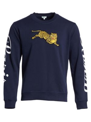 KENZO Men'S Jumping-Tiger Embroidered Cotton Sweatshirt W/ Sleeve-Print, Ink