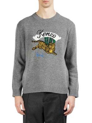 KENZO Jumping Tiger Grey Wool Jumper, Dove Grey