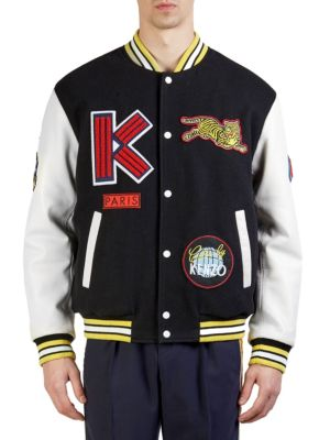 Varsity Black Wool Fabric And White Leather Jacket