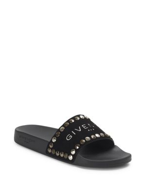 Flat Pool Studded Leather Slide in Black