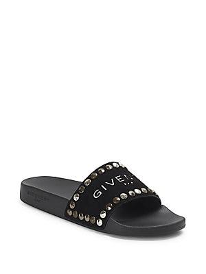 Givenchy - Elegant Studded Leather Slides - saks.com c1f46e3981