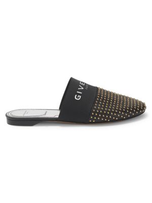 Bedford Flat Studded Leather Logo-Web Mules in Black