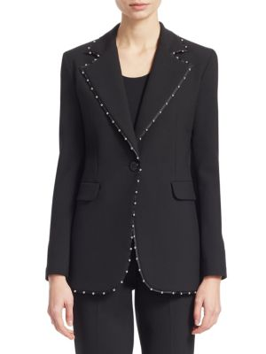 One-Button Stretch-Jersey Blazer W/ Beaded Ribbon Trim, Black