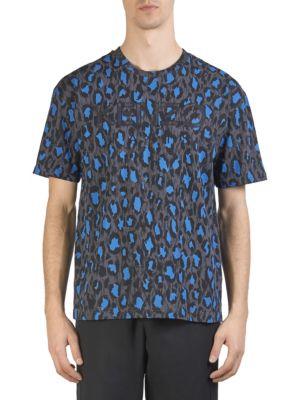 KENZO Leopard-Print Cotton-Jersey T-Shirt, Anthracite