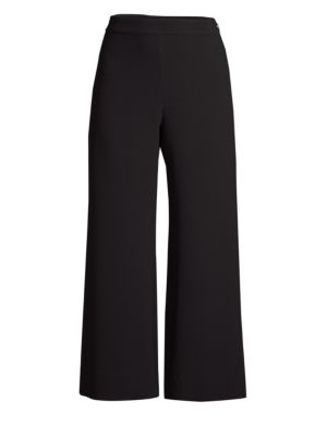 Rebecca Taylor Cropped Wide-Leg Crepe Pants In Black