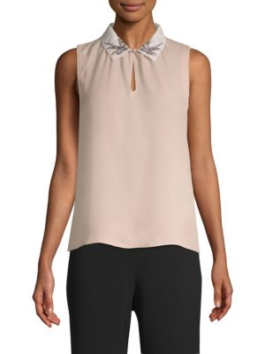 Bird-Embellished Collar Sleeveless Silk Top, Ballet