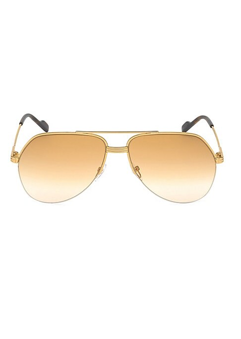Image of Semi-rimless aviator sunglasses in polished finish. 140mm lens width; 62mm bridge width; 15mm temple length. 100% UV protection. Adjustable nose pads. Tinted lenses. Metal. Made in Italy.