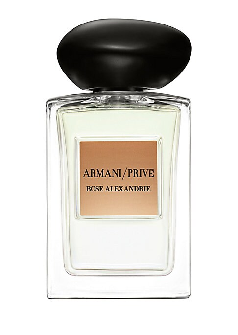Image of The Les Eaux collection of Armani / Prive Haute Couture Fragrances is a tribute to legendary gardens, each inspired by nature and the Mediterranean. Rose Alexandrie showcases the Centifolia rose of France in the spirt of the gardens of Alexandria. With Ro