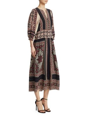 Ezri Crochet-Trimmed Printed Crepe De Chine Dress, Brick Multi