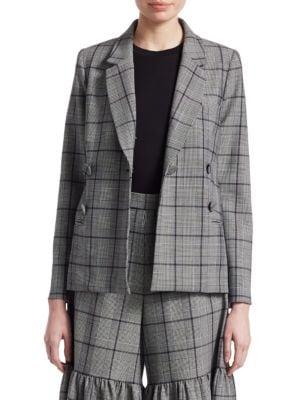 Ea Bacall Trong Houlder Blazer Grey, Grey Plaid