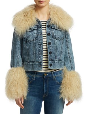 Jocelyn Button-Down Denim Jacket W/ Lamb Fur, Indigo