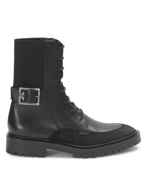 Aviator Suede-Trimmed Leather Ankle Boots, Black