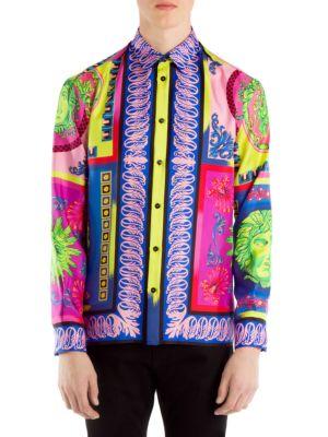 Men'S Camicie Medusa Graphic Silk Sport Shirt in Multicolour