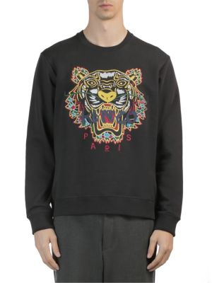 Tiger-Embroidered Cotton-Jersey Sweatshirt, Black