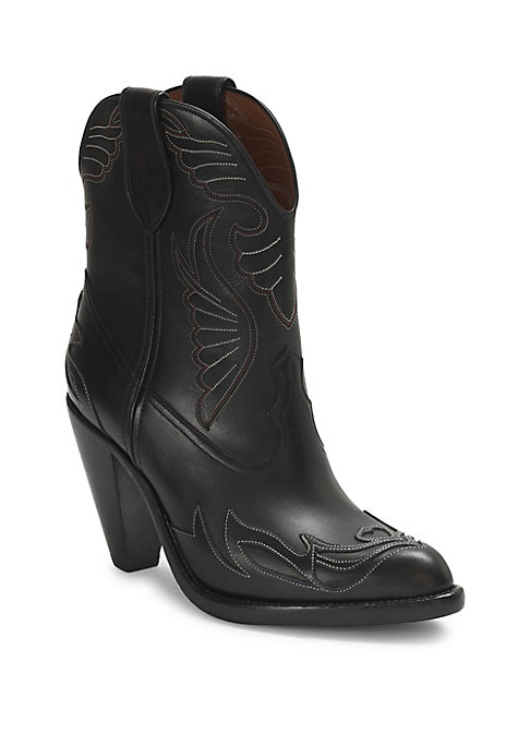 """Image of From the Saks IT LIST. THE COWBOY BOOT. Pair this versatile must-have with flowing skirts, jeans and more. Classic western stitching on rugged leather. Block heel, 3.25"""" (80mm).Calfskin leather upper. Point toe. Slip-on style. Leather sole. Padded insole."""