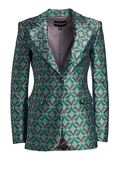 Image of Armani reinvents the tuxedo jacket in a statement art deco print. The traditional tailored fit is smartly contrasted with a playful diamond print and a glamorous high-shine Jacquard for an entirely modern look. Notched lapel. Long sleeves. Button front cl