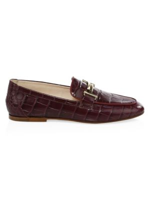 Tod S Double T Croc Embossed Leather Loafers