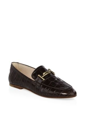 10Mm Double T Croc Embossed Loafers, Brown