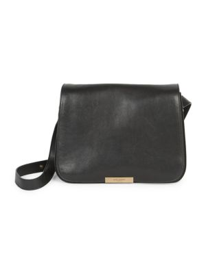 Amalia Leather Convertible Crossbody Saddle Bag in Black