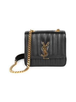 Medium Vicky Leather Monogram Shoulder Bag by Saint Laurent