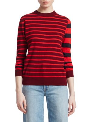 DEREK LAM 10 CROSBY Striped Crewneck Pullover in Red