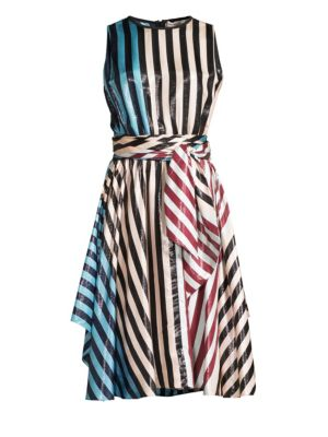 Sleeveless Waist Tie Draped Midi Dress, Carrington Stripe Pacific Black