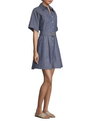 Belted Shirt Dress, Light Indigo