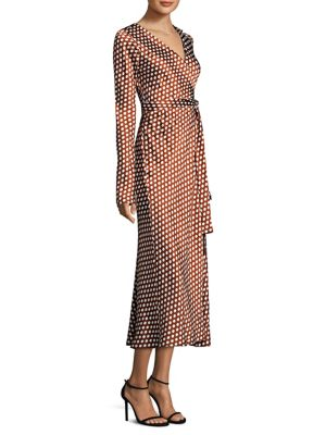 Tilly Polka-Dot Silk-Satin Wrap Dress, Baker Dot Small Sienna
