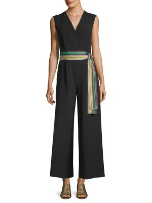 Sleeveless Straight-Leg Belted Jumpsuit, Black