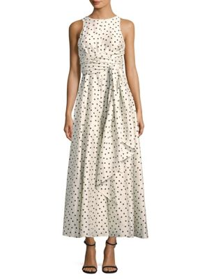 Polka Dot-Print Silk Midi Dress, Bone Black