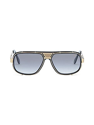 Image of From the Saks IT LIST UTILITY Give off-duty style an on-duty function with the latest military-inspired pieces. From the Cazal Collection Goldtone rimmed frames accentuated tinted lenses on sunglasses 60mm lens width; 15mm bridge width; 140mm temple lengt