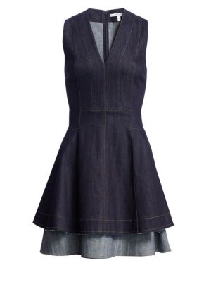 Fit-&-Flare Denim Dress, Dark Indigo