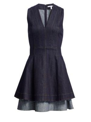 Denim Fit & Flare Dress in Blue