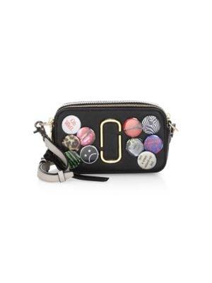 Snapshot Badges Leather Crossbody Bag - Black, Black Multi