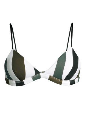 Mikoh Belize Retro Stripe Triangle Bikini Top