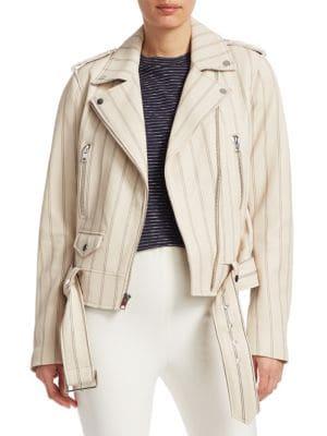 Leather Moto Jacket, Cream from Derek Lam