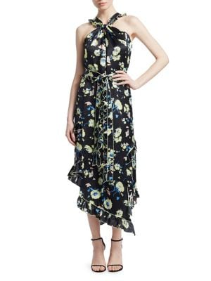 Asymmetrical Floral Ruffle Halter Midi Dress in Black