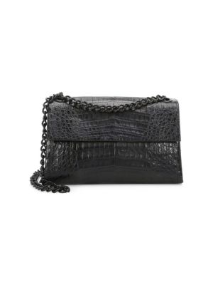 NANCY GONZALEZ Medium Madison Crocodile Shoulder Bag in Black Matte
